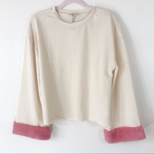 Zara Trafaluc Cropped Top, Pink Faux Fur Trim, S